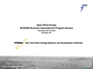 Apex Wind Energy, Inc. Queen Charlotte Square 212 East High Street Charlottesville, VA 22902 Tel: 434 220 3710 Fax: 434