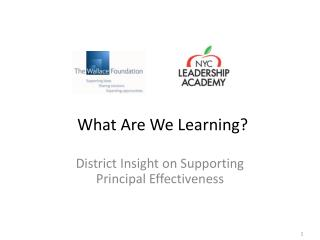 District Insight on Supporting Principal Effectiveness