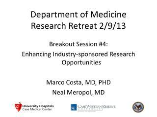 Department of Medicine Research Retreat 2/9/13