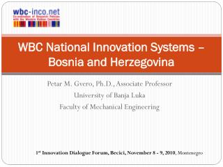 WBC National Innovation  Systems – Bosnia and Herzegovina