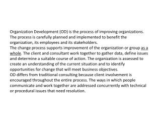 Organizational development services: