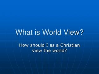 what is world view