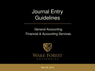 Journal Entry Guidelines