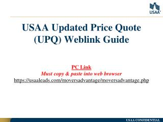 USAA Updated Price Quote (UPQ)  Weblink  Guide