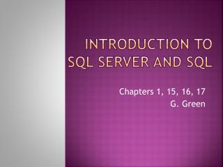 Introduction to  sql  server and  sql