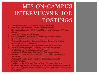 MIS On-Campus Interviews & Job postings