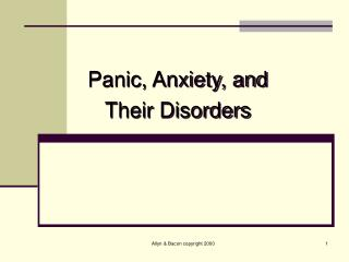 Panic, Anxiety, and Their Disorders