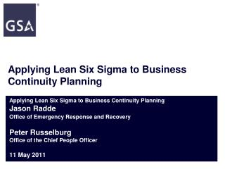 Applying Lean Six Sigma to Business Continuity Planning