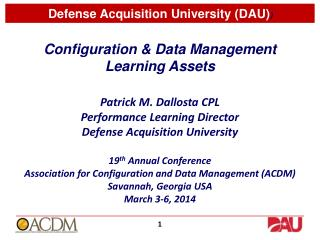 Configuration & Data Management  Learning Assets