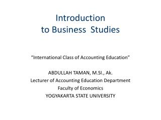 Introduction  to Business  Studies
