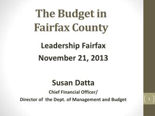 The Budget in  Fairfax County