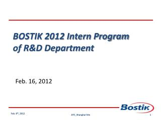 BOSTIK 2012 Intern Program of R&D Department