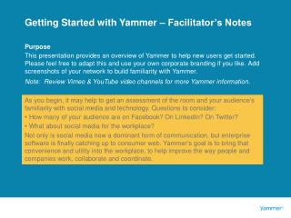 Getting Started with Yammer – Facilitator's Notes