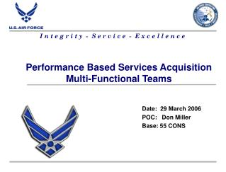 Performance Based Services Acquisition Multi-Functional Teams