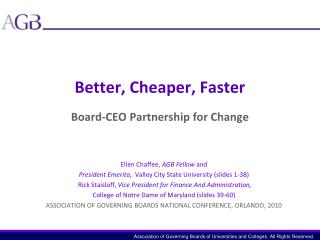 Better, Cheaper, Faster Board-CEO Partnership for Change