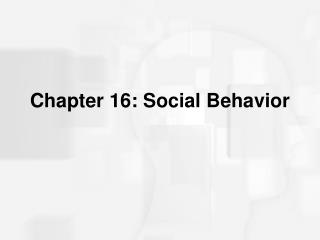 Chapter 16: Social Behavior