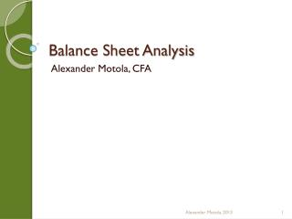 Balance Sheet Analysis
