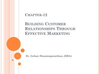 Chapter-12  Building Customer Relationships Through Effective Marketing