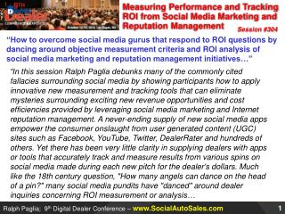 Measuring Performance and Tracking  ROI  from Social Media Marketing and Reputation Management