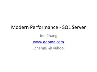 Modern Performance - SQL Server