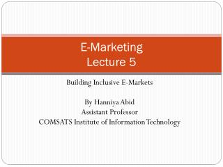 E-Marketing Lecture  5