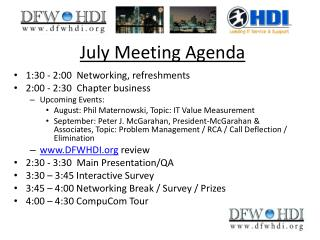 July Meeting Agenda