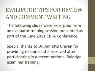 EVALUATOR TIPS FOR REVIEW AND COMMENT WRITING