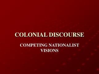 COLONIAL DISCOURSE
