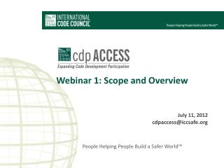 Webinar 1: Scope and Overview