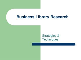Business Library Research