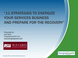 """11 strategies to  energize  your services business and prepare for the recovery"""