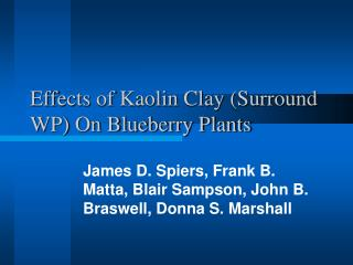 Effects of Kaolin Clay (Surround WP) On Blueberry Plants