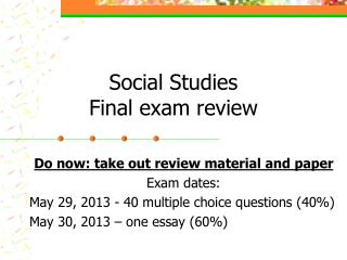 Social Studies Final exam review