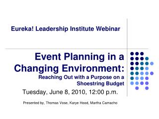 Eureka! Leadership Institute Webinar