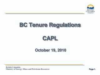 BC Tenure Regulations CAPL