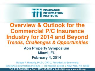 Overview & Outlook for the      Commercial P/C Insurance Industry for 2014 and Beyond Trends, Challenges & Oppor