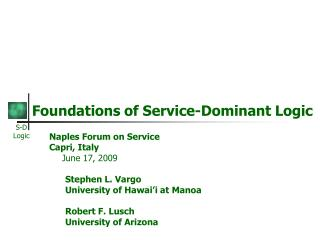 Foundations of Service-Dominant Logic