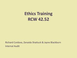 Ethics Training RCW 42.52