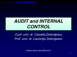 AUDIT and INTERNAL CONTROL