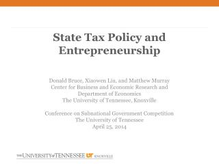 State Tax Policy and Entrepreneurship