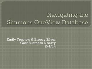 Navigating the Simmons  OneView Database
