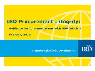 IRD Procurement Integrity: