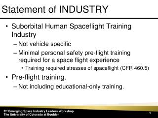 Statement of INDUSTRY