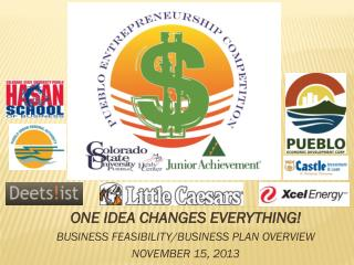 ONE IDEA CHANGES EVERYTHING! BUSINESS FEASIBILITY/BUSINESS PLAN OVERVIEW NOVEMBER 15, 2013