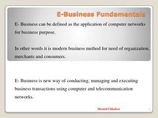 E-Business Fundamentals