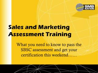 Sales and Marketing Assessment Training
