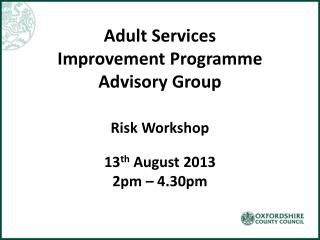 Adult Services Improvement Programme Advisory Group