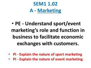 SEM1 1.02 A - Marketing