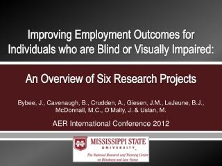 Improving Employment Outcomes for Individuals who are Blind or Visually Impaired: