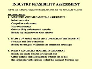 INDUSTRY FEASIBILITY ASSESSMENT